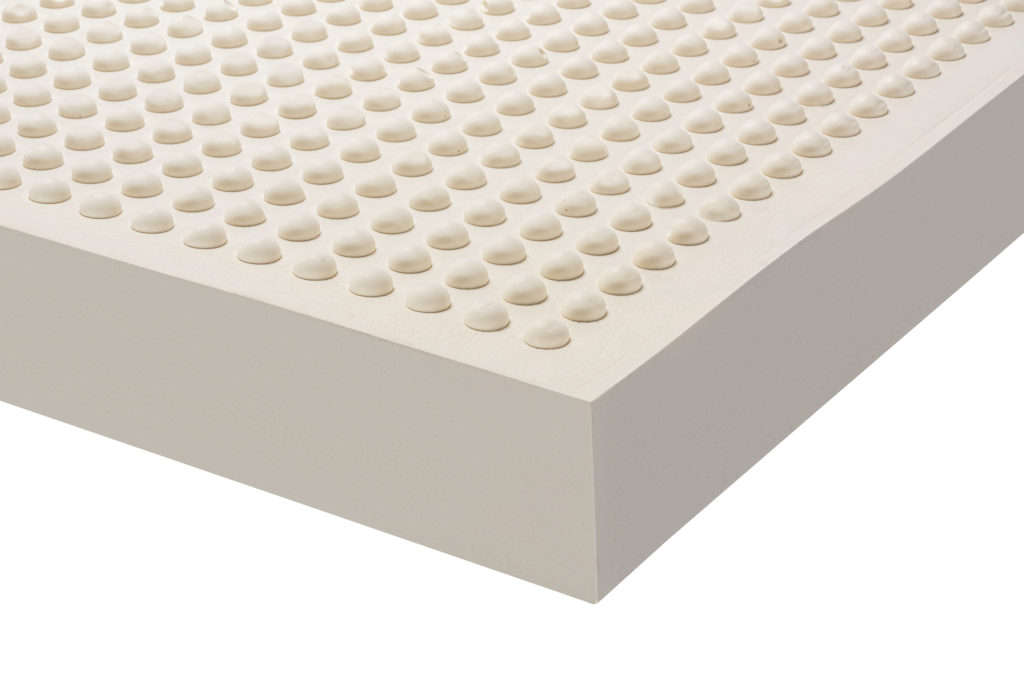 Natural latex mattress with bubbles surface to massage the body.